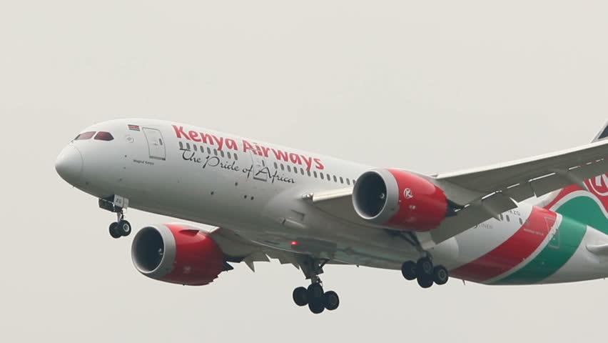 BANGKOK THAILAND - SEP22,2017 : boeing 787 dreamliner of kenya airways plane approaching for landing to suvarnabhumi airport