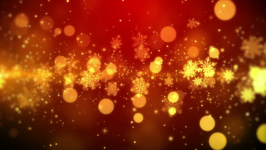 christmas motion background footage red theme with the golden snowflake lights in stylish - Christmas Motion Lights