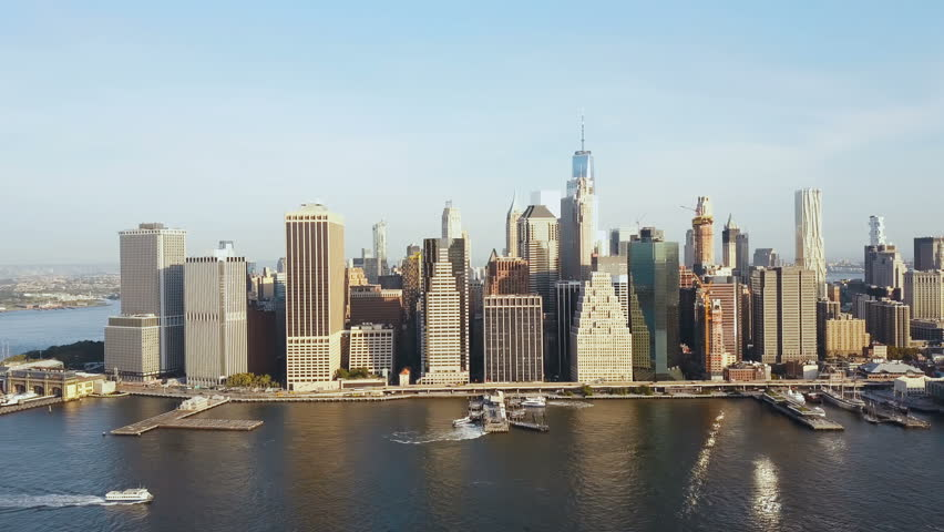 Aerial view of Manhattan district in New York, America. Drone flying along the shore of East river, downtown view. | Shutterstock HD Video #31039348