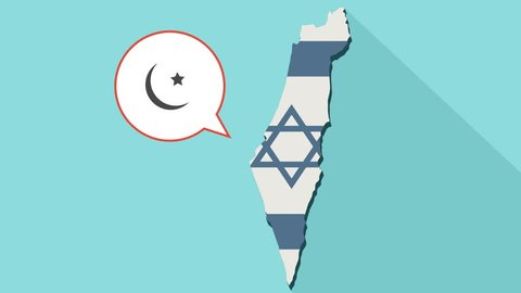 Animation of a long shadow Israel map with its flag and a comic balloon with a islam sign.