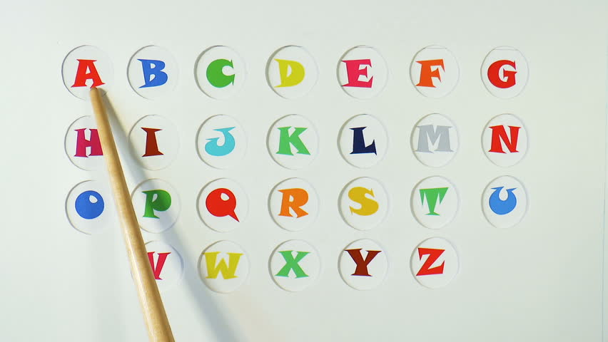 The video shows wooden pointer and the English alphabet