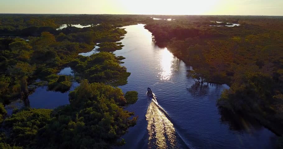 Camera follows the boat sailing on the river towards the sunset. Aerial image of meander in the Pantanal Biome. Vegetation of Native forest. Top view. Mato Grosso do Sul state, Central-Western Brazil. | Shutterstock HD Video #31061869