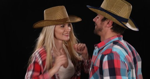 Attractive American Couple Dancing Wear Cowboy Hat Clothing Texan Music Concept