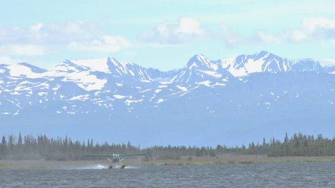A pretty, green DeHavilland Beaver floatplane takes off from Beluga Lake in Homer, Alaska. The Kenai Mountains loom beyond.