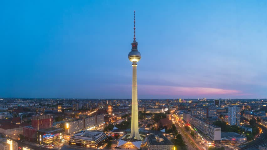 Berlin city skyline at Berlin TV Tower day to night timelapse , Berlin, Germany, 4K Time lapse
