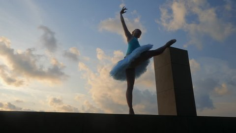 Silhouette of ballerina in ballet tutu and pointe on dramatic sky background. Young beautiful woman practicing stretching and exercises. Girl in static posture. 4k. Gimbal shot