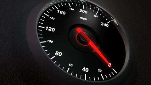 Speedometer, closeup. 0-200 in 15 seconds.