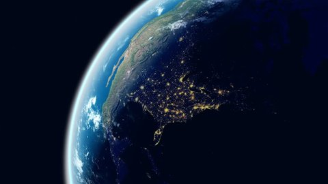 North America View.  Realistic Earth. Slowly Rotating Earth with Night City Lights. Ultra High Detailed and Natural Textures. View Of Planet Earth From Space. View on the USA, Canada, Mexico.