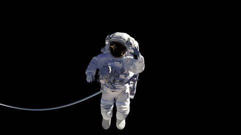 Space Station And Astronaut With Alpha Matte. 3D Animation. You Can Use Any Background For Your Projects.