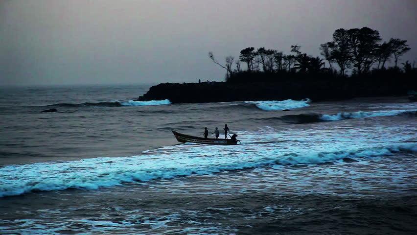 Tracking shot of a boat moving in an ocean, Mahabalipuram, Kanchipuram District, Tamil Nadu, India