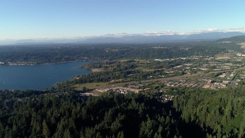 Aerial Over Cougar Mountain of Lake Sammamish Park in Issaquah, Washington