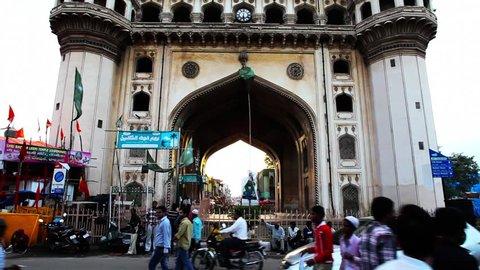 INDIA - AUGUST 2012: Tilt up shot of Charminar, Hyderabad, Andhra Pradesh, India