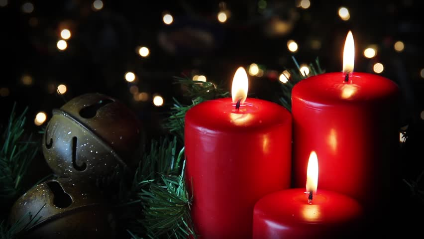 Looping. Red Christmas Candle Flicker Alongside Christmas