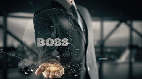 Boss with hologram businessman concept