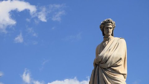 Pazzi's sculpture of Dante, Piazza Santa Croce, Florence, Tuscany, Italy