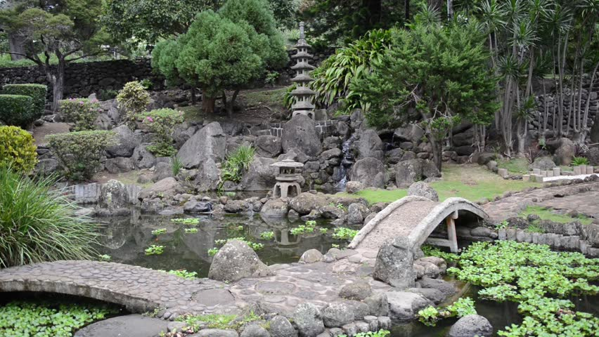 Anese Zen Garden With Waterfall And Bridge Stock Footage
