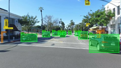 Autonomous car driving through Los Angeles. Computer vision. Object detection system that creates boxes to recognize objects in the streets. Artificial intelligence technology.