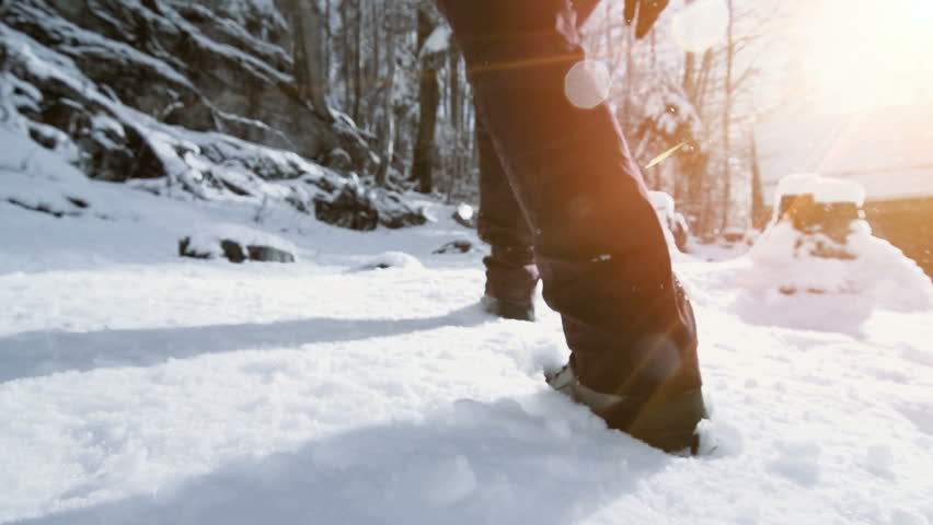 snow hiking walking foot steps feet slow motion #31202809