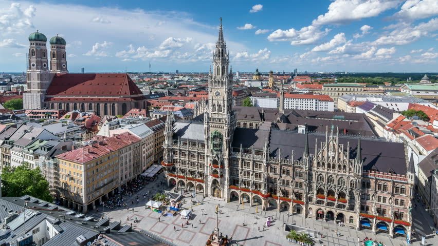 Munich city, panoramic view with Marienplatz, the main square of Munich