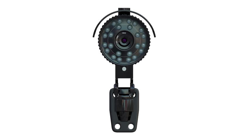 black security camera spinning or rotating on white background 3d rendering #31219759