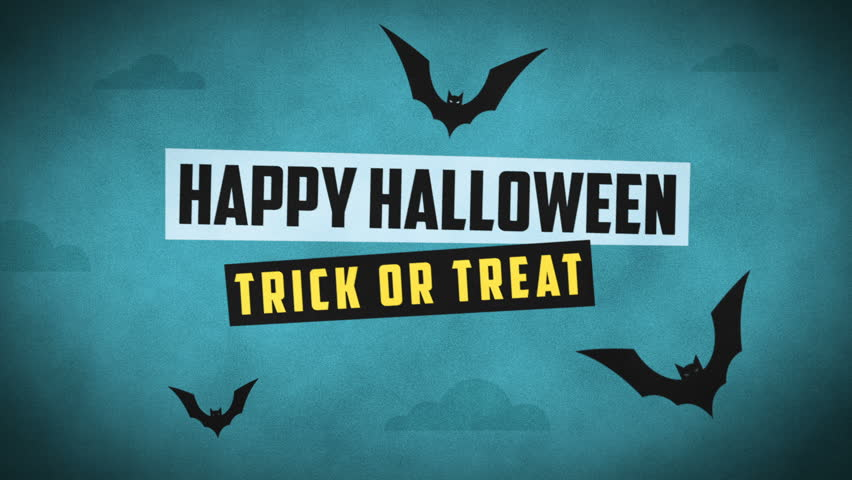 Happy Halloween Forest Mountain Castle Bats. Motion Graphics. Intro Video.