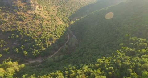 Aerial drone of Montfort Castle Upper Galilee region in northern Israel Haifa