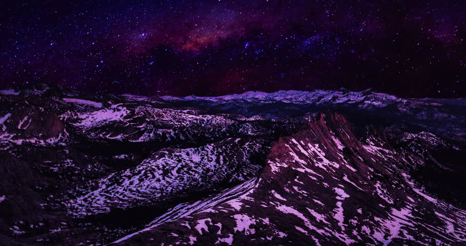 A time-lapse of a martian world, looking over mountains while viewing the milky way in the red night sky.