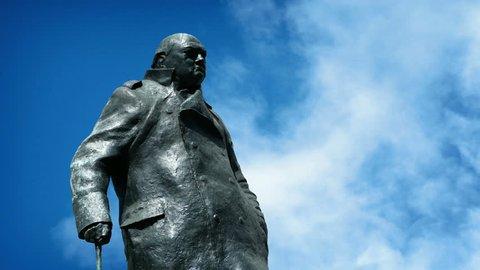 Churchill Statue On Sunny Day