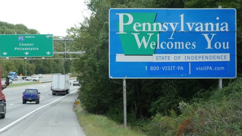 Welcome to Pennsylvania Sign on Interstate 95 at Delaware Pennsylvania Border