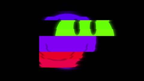 Smile symbol on digital old tv screen seamless loop glitch interference animation new dynamic retro joyful colorful retro vintage video footage