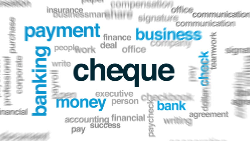 Cheque animated word cloud, text design animation.