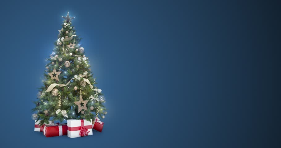 Christmas Tree On Green Background Loop Free Motion Graphics