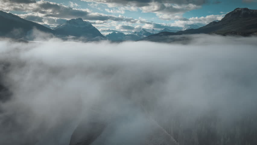 Aerial of fog over athabasca river in jasper | Shutterstock HD Video #31323049
