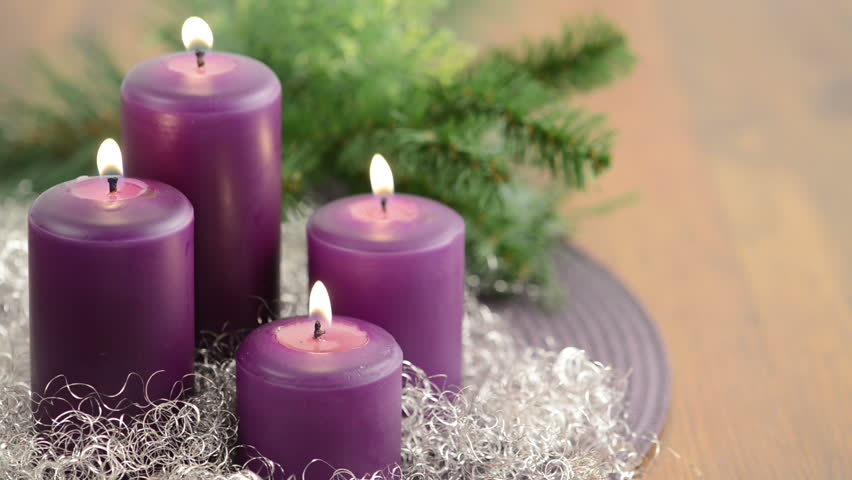 4 advent with purple advent stock footage video 100. Black Bedroom Furniture Sets. Home Design Ideas