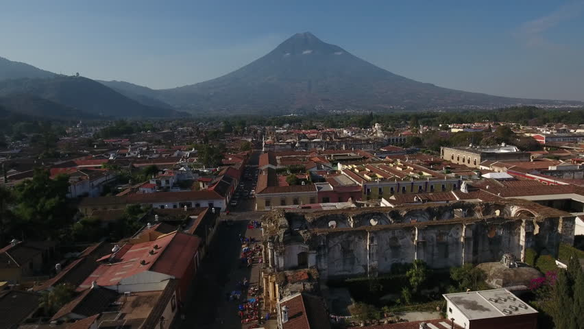 CIRCA 2010s - Antigua, Guatemala - Beautiful aerial shot over the colonial Central American city of Antigua, Guatemala.