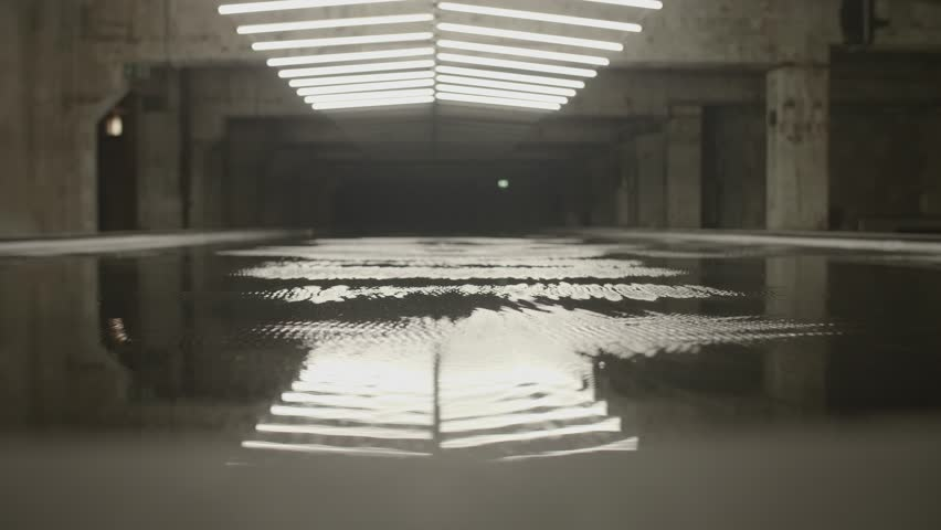 4k shot of white fluorescent lighting turn on and off and reflecting in the water or puddle in industrial building. Many neon lights blinking and flashing on the ceiling. | Shutterstock HD Video #31374859