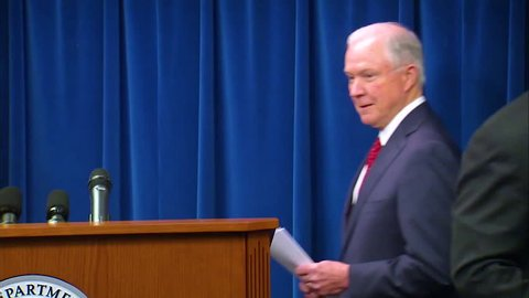 CIRCA 2010s - U.S. Attorney General Jeff Sessions discusses President Trump's Presidential Proclamation Enhancing Vetting Capabilities and Processes for Detecting Attempted Entry Into the United States by Terrorists or Other Public-Safety Threats