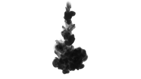 One ink flow, infusion black dye cloud or smoke, ink inject on white in slow motion. Writing ink scatter in water. Inky background or smoke backdrop, for ink effects use luma matte like alpha mask