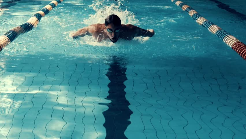 Slow motion view of swimming. Swimmer in action in waterpool with blue water at sunny day