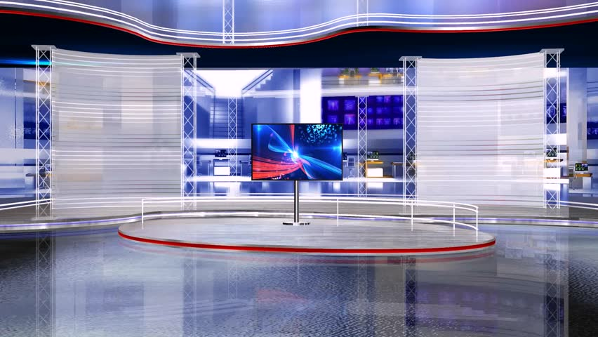 Tv studio virtual set perfect for any type of news or information presentation. The background features a stylish and clean layout with subtle movements and animations. | Shutterstock HD Video #31420549