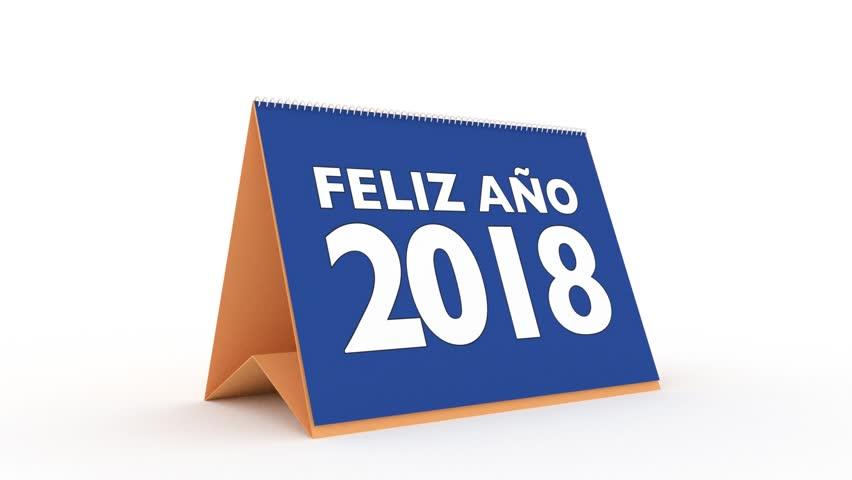 new year 2018 calendar in spanish