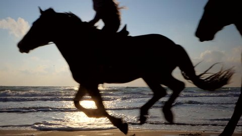 Beautiful young women riding dark horses at sea beach. Enjoying beautiful landscape.Galloping run in sunset or sunrise light and splashing water drops around.Riders running at a gallop.Slow motion.