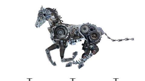 Metal horse is running on a clean background. The robot is made of auto parts and represents the horsepower of the car. Character in the style of steampunk post-apocalypse. Alpha channel.