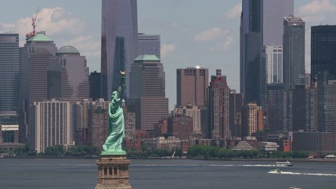 New York City, New York circa-2017, Aerial view of Statue of Liberty and Manhattan. Shot with Cineflex and RED Epic-W Helium.