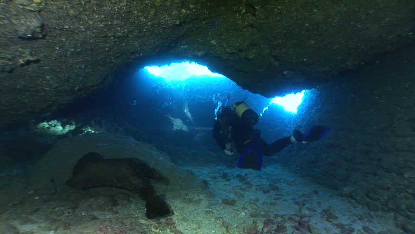 Cave diving underwater scuba divers exploring cave dive  | Shutterstock HD Video #31493839
