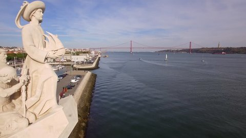 Monument to the Discoveries at Belem district in Lisbon, Portugal, aerial view.