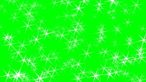 Stars sparkles on green screen background animation. Christmas stars.