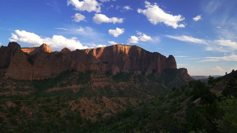 Red rock landscape of Kolob Canyon in Zion National Park, Utah, pan