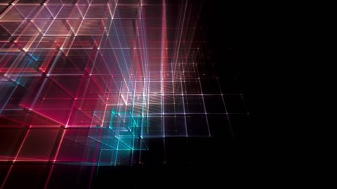 Background 3d animation of moving multicolor light grids. Abstract blue and red lines on black backdrop. 4K.