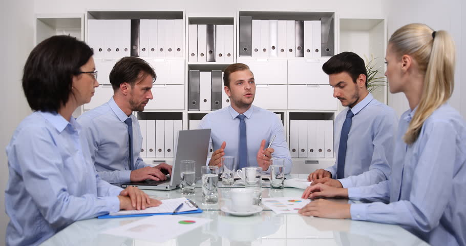Boss Conversation with Business People in Boardroom Talking About Deal Strategy   Shutterstock HD Video #31579819
